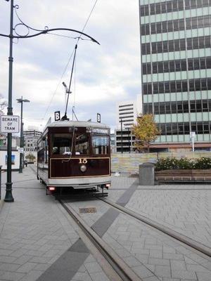 クライストチャーチ市内を走る電車(トラム)